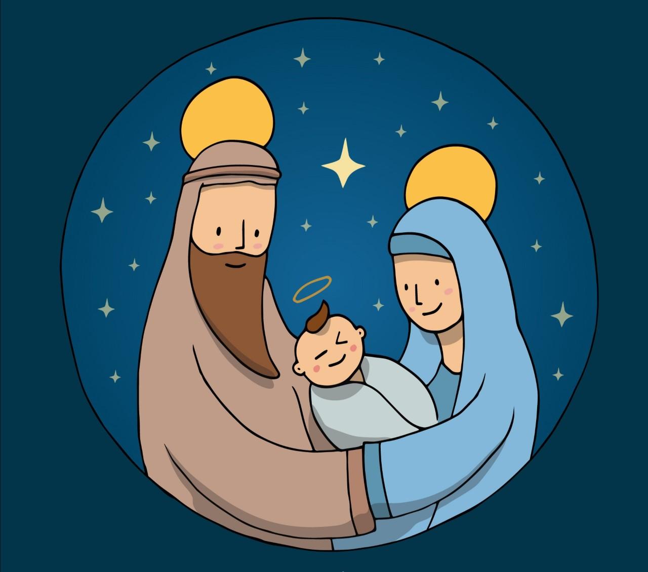 Kuvassa Jeesus-vauva, Maria ja Joosef.